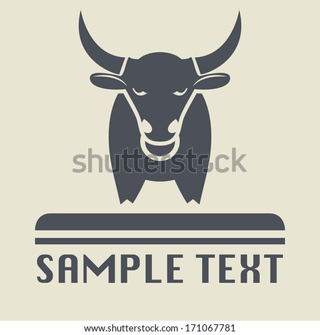 Bull icon or sign, vector illustration - stock vector
