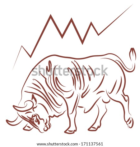 bull image and bullish stock market trend vector illustration - stock vector