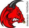 Bull Mascot Head Profile with Horns Cartoon Vector Image - stock vector