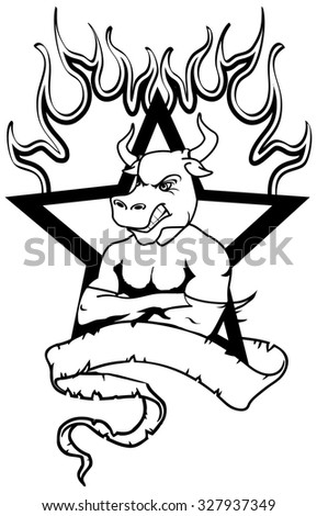 bull mascot muscle crest shield tattoo in vector format very easy to edit - stock vector