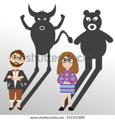 bull or bear shadow stock investment - stock vector