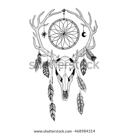 bulls skull deer antlers feathers dreamcatcher stock