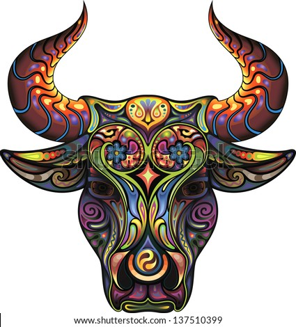 Bull. Silhouette of a head of a Bull collected from plant ornament variegated colors. - stock vector