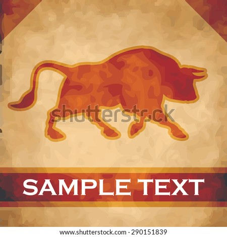 Bull silhouette on parchment with dark brown and gold ribbon - stock vector