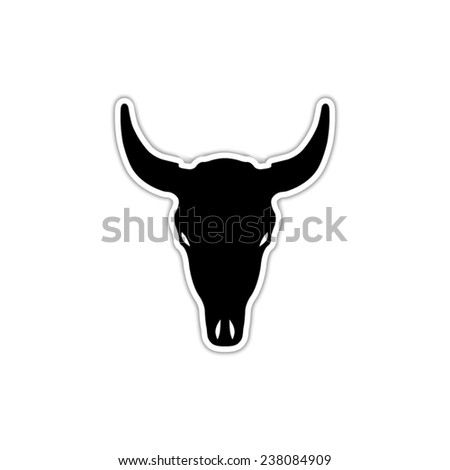 Bull skull - black vector icon with shadow