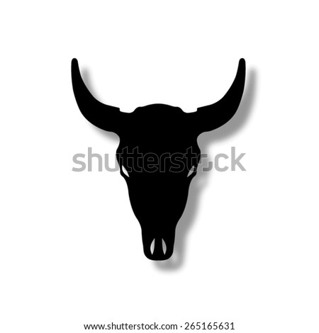 Bull skull   - vector icon with shadow