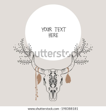 Bull skull with feathers. Vector illustration - stock vector