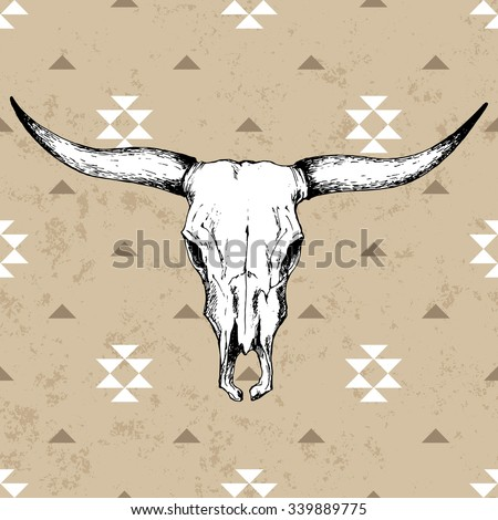 Bull skull with horns on native americans background with traditional ornament - stock vector