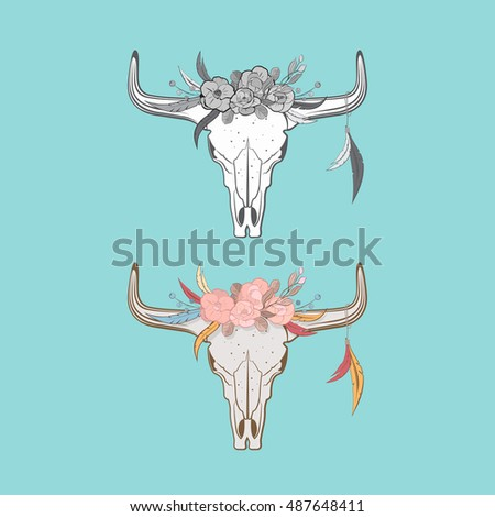 Bull skulls with feathers and flowers in boho style. Includes color and black-and-white version.
