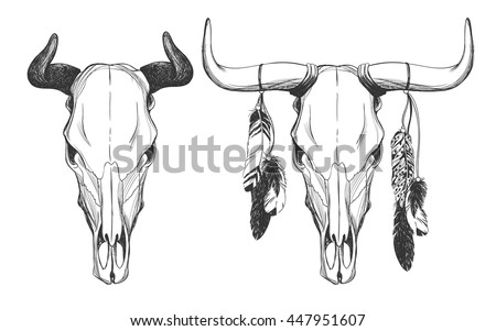 Bull Skulls Feathers Native American Indian Stock Vector Royalty Free 447951607