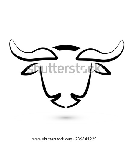 Bull stylized sketch graphic vector icon design logo template background - stock vector