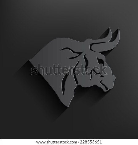 Bull symbol on dark background,clean vector - stock vector