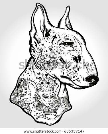 bull terriers portrait made oldstylized tattoo stock vector dog coloring airedale terrier coloring book - Shih Tzu Coloring Pages
