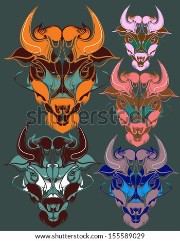 bull vector. animal vector series.use for t shirt, tattoo, background, sticker and graphic template - stock vector