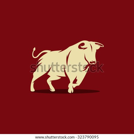 Bull Vector Illustration. Silhouette of the Bull isolated on a dark background. Branding Identity Corporate Logo - stock vector