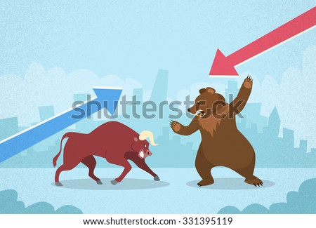 Bull vs Bear Stock Exchange Concept Finance Business Graph Vector Illustration - stock vector