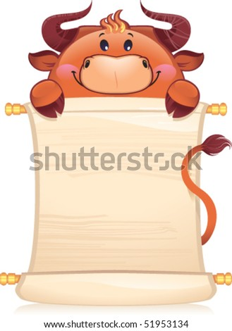 Bull with scroll - symbol of Chinese horoscope - stock vector