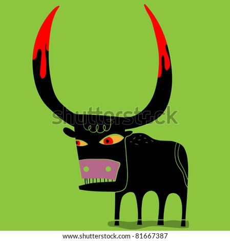 bull with the stained horns of blood - stock vector