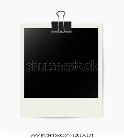 Bulldog clip with instant photo on white - stock vector