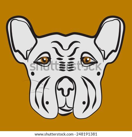 Bulldog hand drawing - stock vector