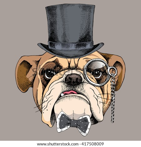 Bulldog portrait in a bowler hat, with a tie and monocle. Vector illustration. - stock vector
