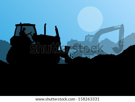 Bulldozer and excavator loader at industrial construction site vector background illustration - stock vector
