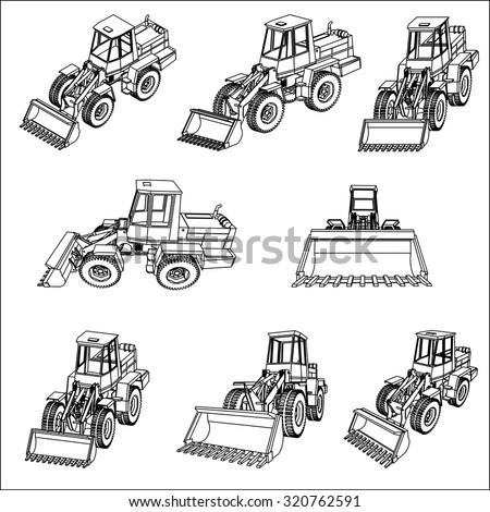 Bulldozer. Eight 3D projection vector. - stock vector