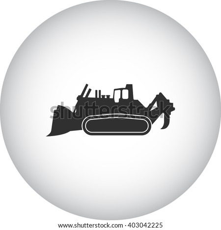 Bulldozer loader sign simple icon on  background - stock vector