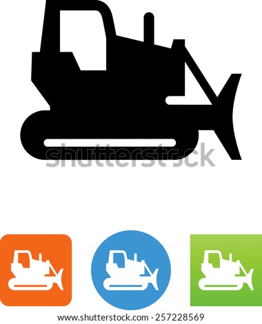 Bulldozer symbol for download. Vector icons for video, mobile apps, Web sites and print projects.  - stock vector