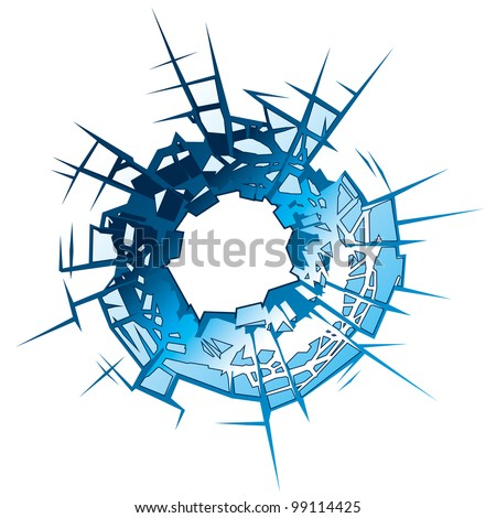 Bullet Hole in Glass. Vector Illustration - stock vector