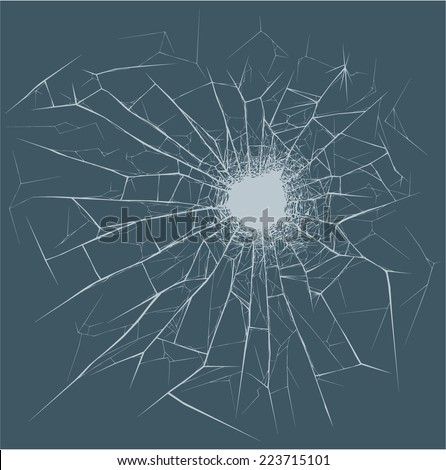 Bullet Hole on the glass - stock vector