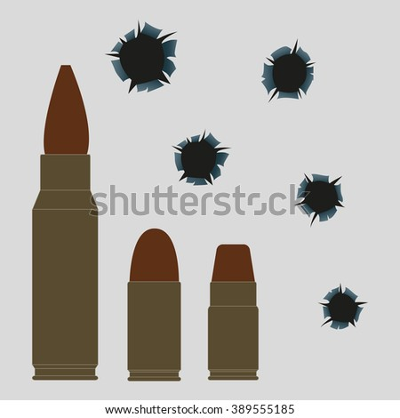 Bullet holes and set of bullets. Vector illustration.  - stock vector