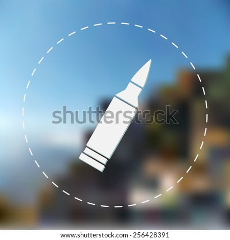 Bullet icon. Vector illustration. Blurred background. - stock vector