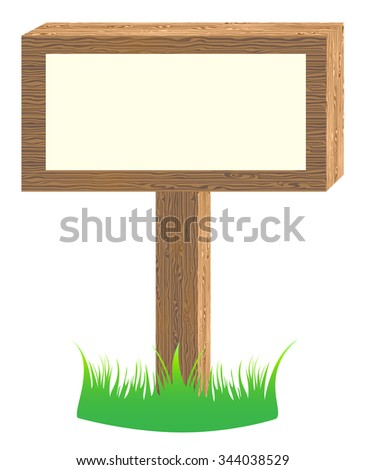 Bulletin board with texture wood and fragments green grass
