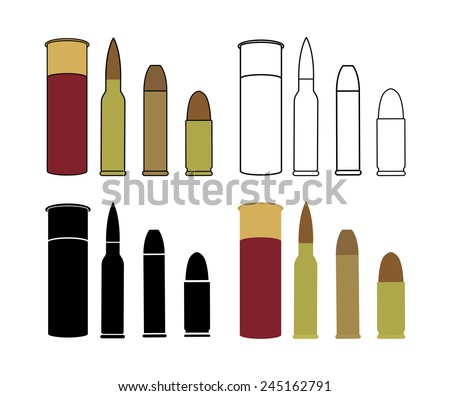 Bullets game set. Shotgun, rifle, pistol. Color, contour lines, black, no outline. Vector clip art icons isolated on white - stock vector