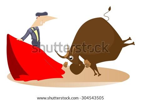 Bullfighter and a bull - stock vector