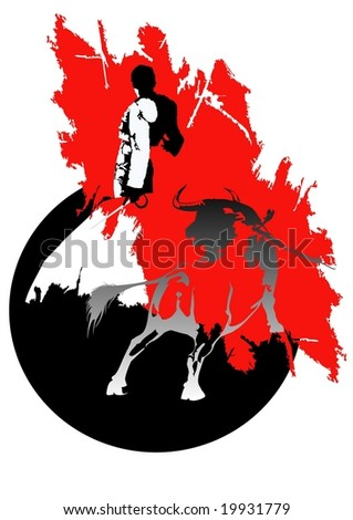 bullfighting - stock vector