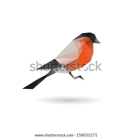 Bullfinch abstract  isolated on a white backgrounds, vector illustration - stock vector