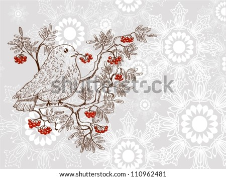 bullfinch and mountain ash background, beautiful  vector illustration