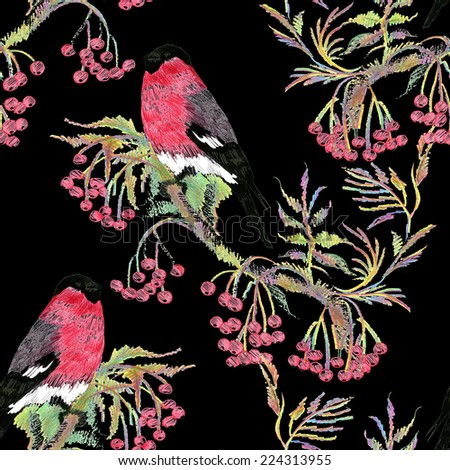 Bullfinches birds on a branch. Watercolor seamless pattern on black background vector illustration - stock vector