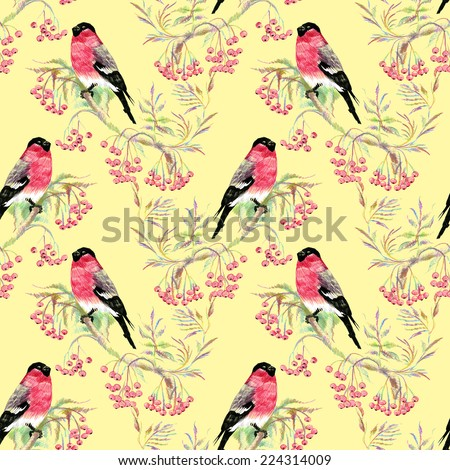 Bullfinches birds on a branch. Watercolor seamless pattern on yellow background vector illustration - stock vector