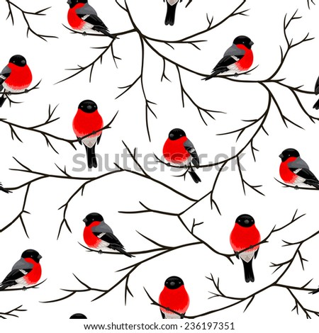 Bullfinches on the branches. Vector seamless pattern.  - stock vector