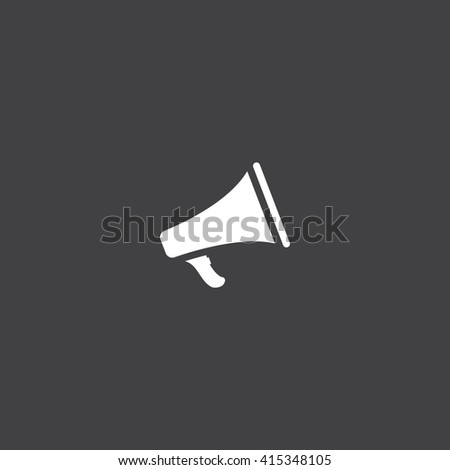 Bullhorn icon vector, solid illustration, pictogram isolated on black