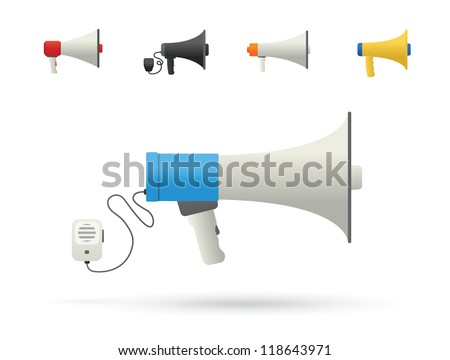 Bullhorn Icons on white background. Vector illustration.