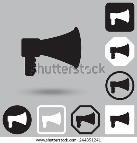 Bullhorn or megaphone vector icon. - stock vector
