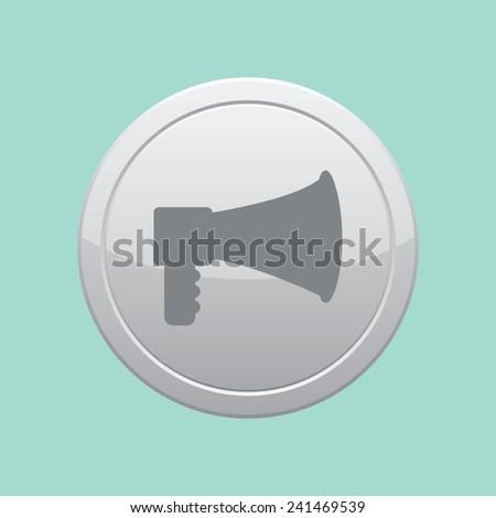 Bullhorn or megaphone vector icon. Gray round button. - stock vector