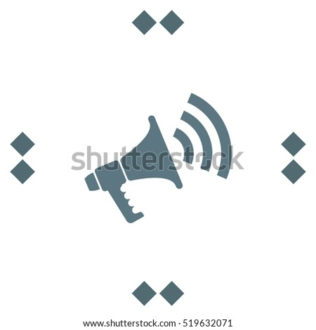 Bullhorn vector icon. Megaphone or loudspeaker sign. Announce symbol.