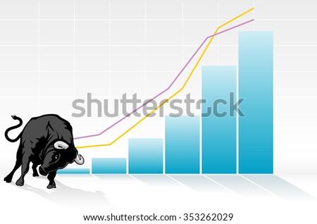 Bullish Economy Graph-Fast growing economy chart, representing the bull - stock vector