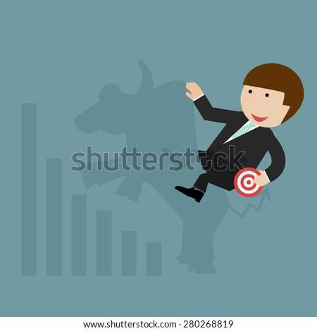 bullish stock market, investment symbol - stock vector