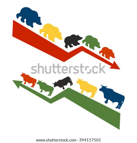 Bulls and bears. Rise and fall of quotations on stock exchange. Red down arrow international traders bears. Green up arrow world Raiders bulls - stock vector